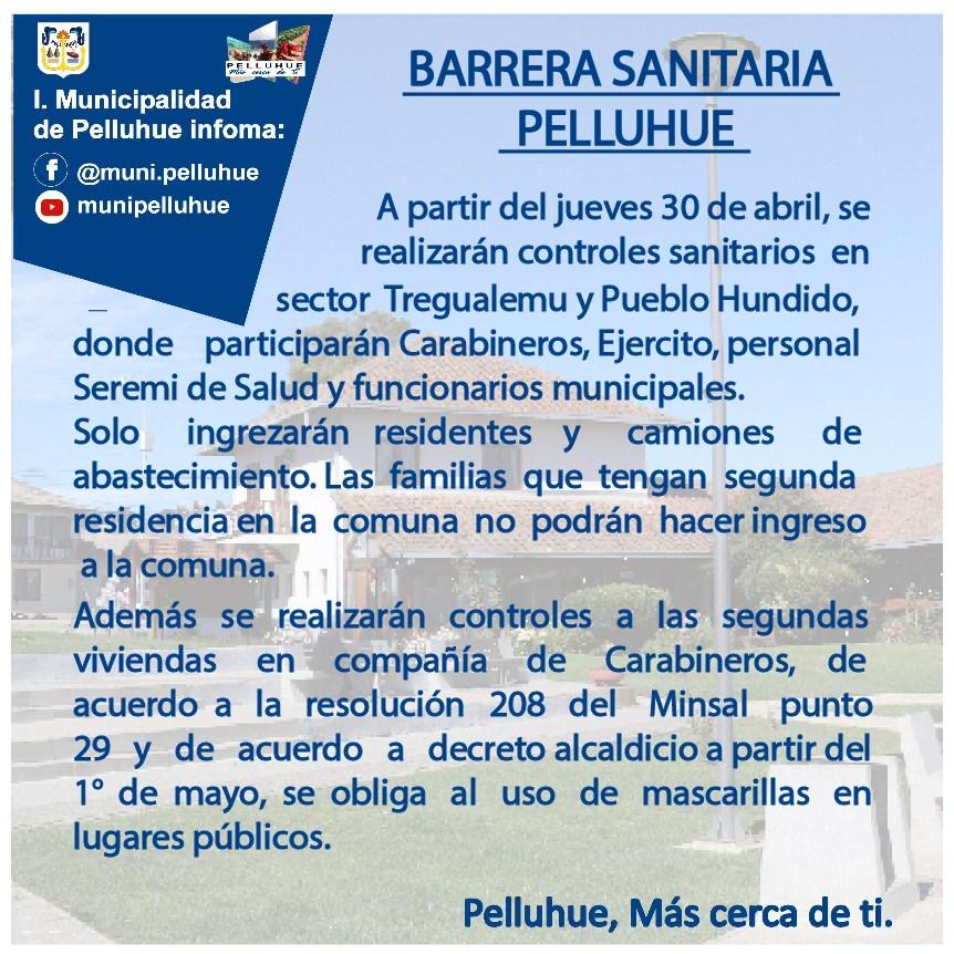 Ilustre Municipalidad e Pelluhue informa: Barreras sanitarias