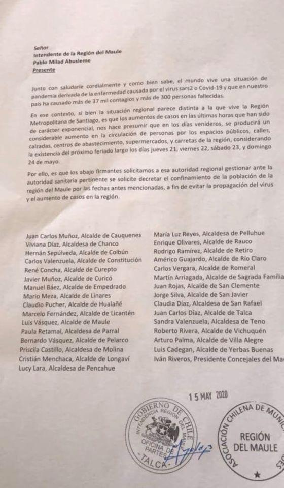 MUNICIPALIDAD DE PELLUHUE JUNTO A TODOS LOS ALCALDES DE LA REGIÓN SOLICITARON CONFINAMIENTO